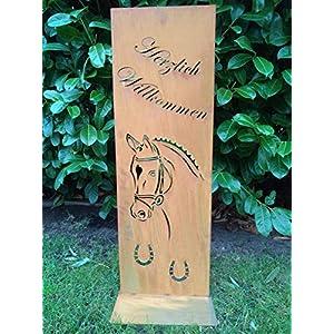 Gartendeko Fockbek Metallschild Stele Pferd Willkommen Edelrost Höhe ca. 80 cm Deko Schild Rostdeko Hufeisen