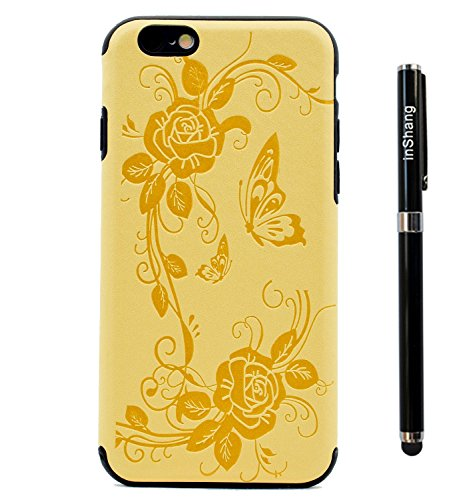 Custodia inShang cover per iPhone 7 4.7 Cellulare,super slim e leggero TPU materiale Cover posterior stili per iPhone7 4.7 inch + inShang Logo pennino di alta classe Yellow butterfly flower