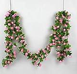 Artificial Rose Garland Silk Flower Vine for valentines Home Wedding Garden Decoration-Colorful