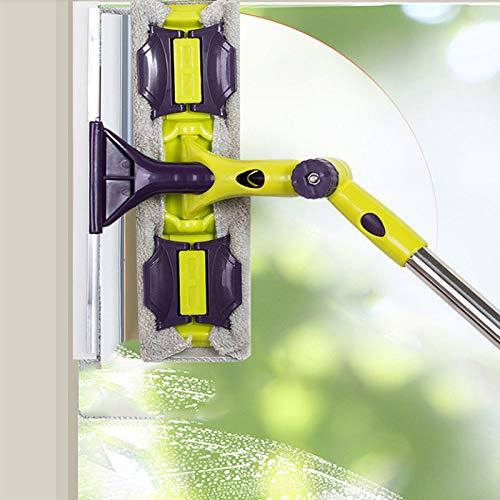 Zeukulele Glasreinigungswerkzeug doppelseitig Teleskopstange Fensterreiniger Abzieher Langer Griff drehbarer Kopf Bürste Silikon Schrubbe