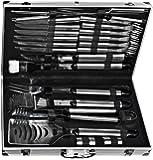 El Fuego AY0333 - Set utensili per barbecue con valigetta in alluminio, 24 pezzi