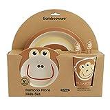 ORNAMI 5-teiliges Bambus-Geschirrset für Kinder, AFFE Design - Kinder-Geschirrset mit Bambusteller, Kleinkindbesteck, Bambusschale und Kinderbecher - umweltfreundlich, BPA-frei und spülmaschinenfest