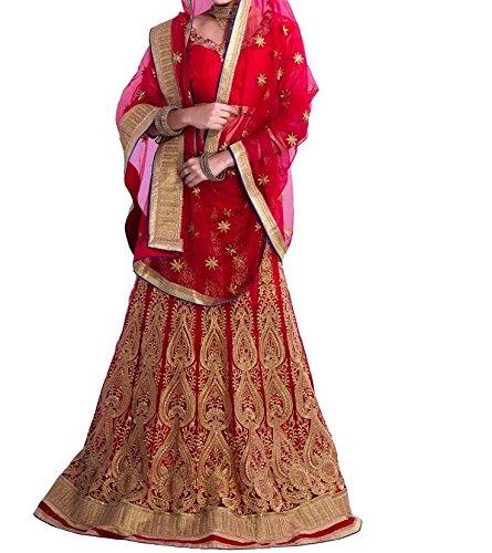 lehenga Choli (Sai Fab Women\'s Raw Silk Red Free Size Lehenga Chaniya Choli)