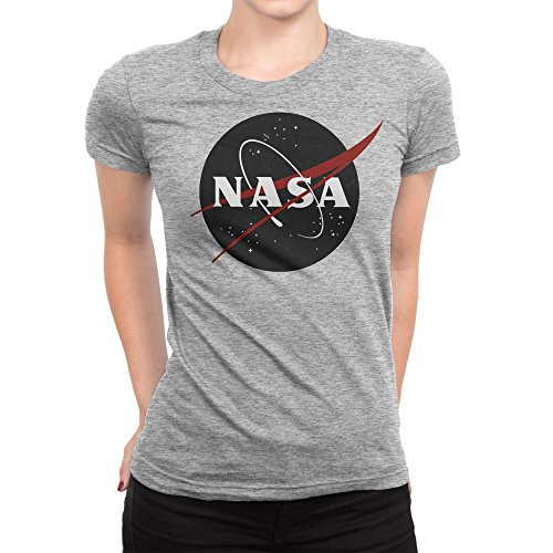 BLAK TEE Vintage Retro Grunge NASA Logo Damen T-Shirt M (V-neck Jersey Distressed)