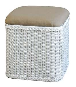 rattan w schekorb w schetruhe mit gepolsterten sitz in der farbe weiss versandkostenfrei in. Black Bedroom Furniture Sets. Home Design Ideas