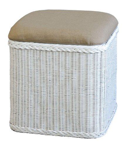 Rattan Wäschekorb  Wäschetruhe mit gepolsterten Sitz in der Farbe Weiss - Versandkostenfrei in DE, Großer heller WäschesammlerSitztruhe aus Natur-Rattan auch perfekt als BadhockerSitzhocker