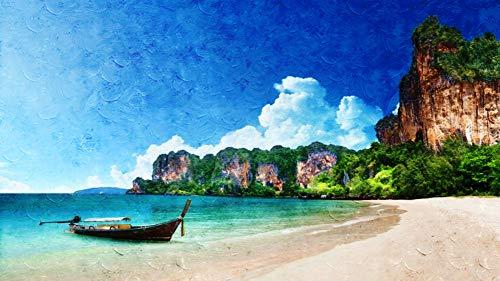 WAZHCY Malen nach Zahlen Kits Kunst Acryl Farbe Strand Boot Sand Landschaft Ozean für Kinder Studenten DIY Leinwand Ölgemälde für Erwachsene 40X50CM Ohne Rahmen