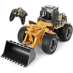Top Race Chargeur frontal entièrement fonctionnel à 6 canaux, tracteur de pelle avec construction à télécommande télécommandée avec sons et lumières 2,4 GHz. TR-113G