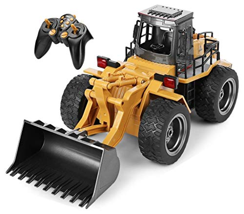 Top Race 6 Channel Full Functional Front Loader, RC Remote Control Construction Digger Tractor with Lights and Sounds 2.4GHz. TR-113G