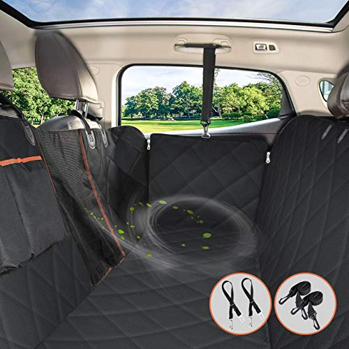 OMORC Dog Car Cover, Avoid Hairs Waterproof and Resistant Dog Car Seat Cover, Flexible Air Passage Grid, with 2 * Safety Belt, Universal for SUV, Truck, Transport and Travel