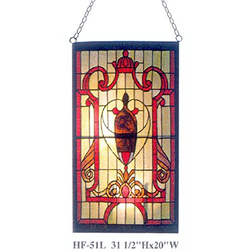 Gweat HF-51L Tiffany Stil Glasmalerei Gothic Red Thema Rechteck Fenster hängende Glasscheibe Sun Catcher, 31.5