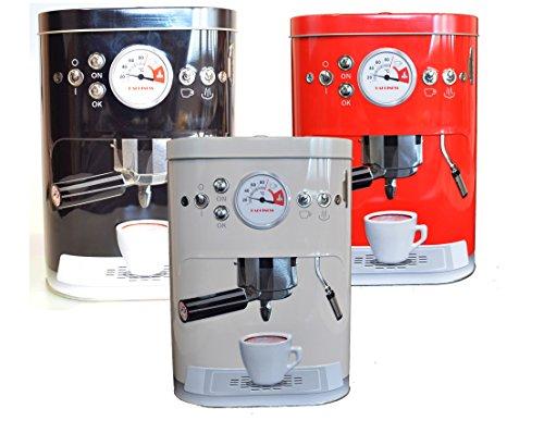 Vorratsdosen Kaffeedose geprägte Blechdose im Espressomaschinen Design Vintage (Weiß)