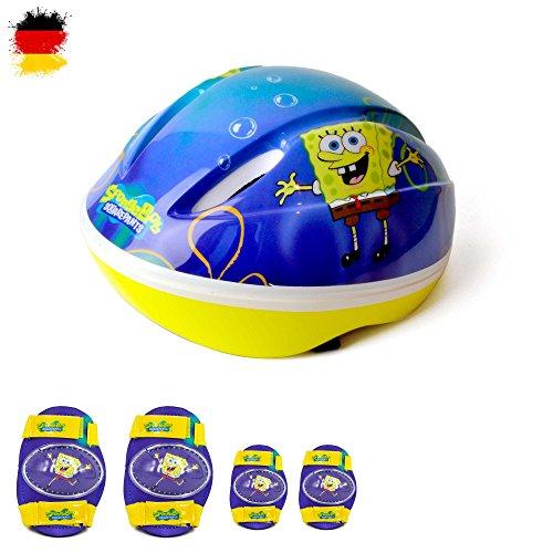 SpongeBob 3-teiliges Set Schwamkopf Unisex Kinder Helm, Knieschoner, Ellbogenschoner für Fahrrad, Inliner, Scooter, Skateboard, Rollerskate,Waveboard im original Design, Neu