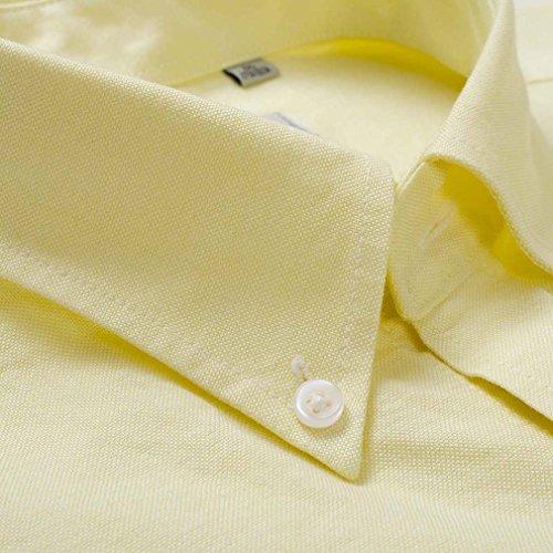 Honghu Casual Herren Langarm Slim Fit Business Button Down Hemd Hellgelb