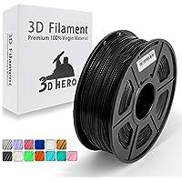 Nero PLA filamento stampante 3D,Filamenti per stampanti 3D,1.75 mm,precisione dimensionale +/- 0,02 mm