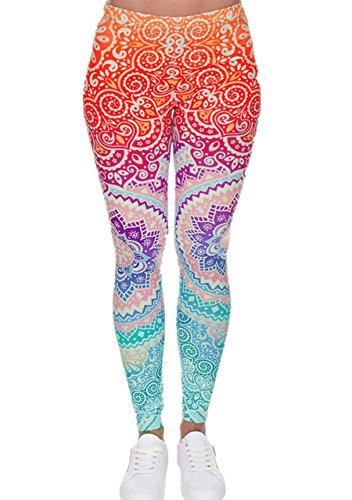 CHIC DIARY Damen bunt Sport Strumpfhose Leggings mit muster Fitness Yoga Joggen Pants Hose Mehrfarbig One size -