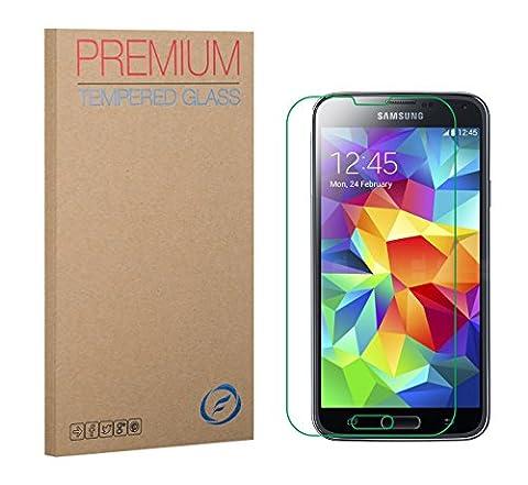Samsung S5 Verre Trempé, Film de Protection écran en verre trempé de qualité supérieure par FUTLEX - Epaisseur 0,33mm - Transparence HD - Enduit lipophobe - Bords arrondis 2,5D - Verre Japonais