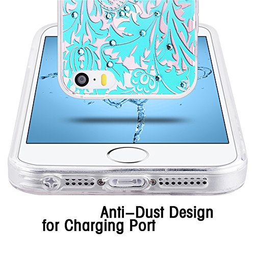 iPhone 5 / 5S / SE Hülle , Yokata 3D Glitzer Diamant PC Hart Case mit Weich Silikon Bumper Gradient Blumen Motif Schale Durchsichtig Case Schutzhülle Cover + 1 * Stylus Pen Grün