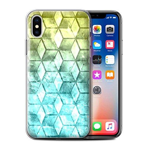 Stuff4 Gel TPU Hülle / Case für Apple iPhone X/10 / Multipack / Bunte Würfel Kollektion Gelb/Blau