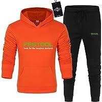 SPONYBORTY Uomo e Donna Tute Per Fe.S-Tool Pantaloni Sportivi con Cappuccio a Tinta Unita in Due Pezzi Casuale/arancia/M…