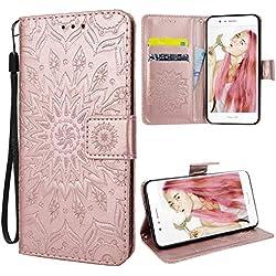 VemMore Coque Huawei Honor 8, Housse Etui en PU Cuir pour Honor 8, Premium Flip Case Portefeuille, [Magnétique] [Carte Fentes] [Stand Fonction], Protection Antichoc Motif Tournesol - Or Rose