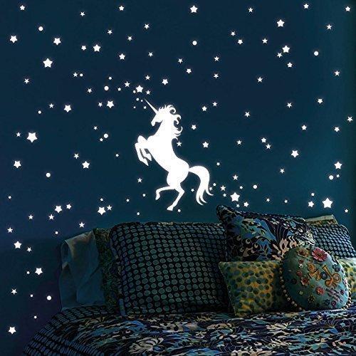 """Wandtattoo Loft Leuchtaufkleber """"Einhorn mit 140 Leuchtsternen 80 Leuchtpunkte"""" - Leuchtsticker Leuchtsterne leuchten im Dunklen für einen tollen Sternenhimmel in Kinderzimmer oder Schlafzimmer"""