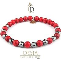 Braccialetto da uomo e da donna bracciale elastico pietre naturali sfaccettate Ematite e Turchese rosso