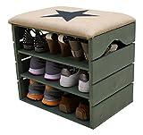 MEUBLE-CHAUSSURES-VERT-KAKI-BANC-de-RANGEMENT-pour-Chaussures-avec-TAGRES-Assise-Confortable-en-Tissu-Bois-Massif-Scandinave-LIZA-51-x-45-x-36-cm-toile-Noire