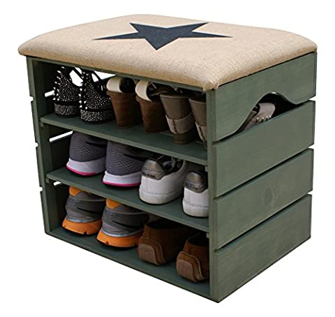 LIZA LINE SHOE RACK (KHAKI) - Premium Vintage Wooden Shoes Bench, Organiser, Storage, Cabinet, Holder Bench with Soft Seat Cushion for Entryway, Hallway. Solid Nordic Wood. 51 x 47 x 35 cm (Black Star)