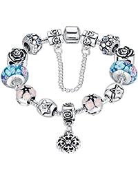 Wostu Pulsera charms de mujer plateado de plata con charms regalo para mujer niña Cumpleaños
