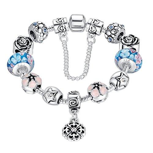 Catena di sicurezza Wowl Amore Cuore Argento placcato braccialetti di fascino di Lampwork branelli di fascino Braccialetti blu del fiore con l'Austria zircone - Fascini Del Cuore Di Vetro