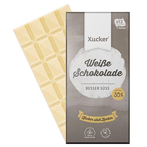 Xucker Weiße Schokolade, ohne Zuckerzusatz, mit Xylit, 10 x 100g-Tafel, 10er-Pack Weißolade, ohne Gentechnik