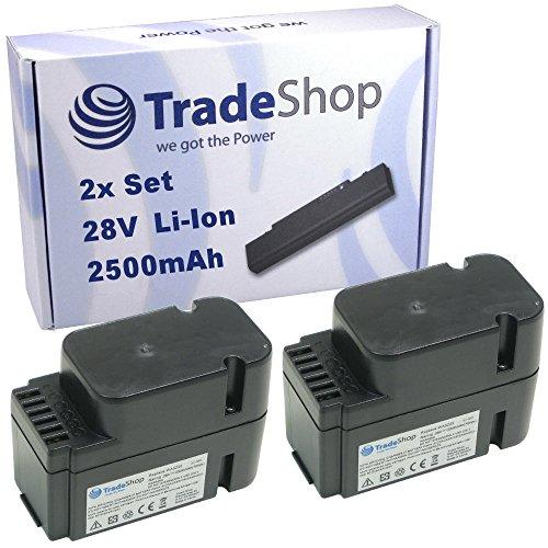 Preisvergleich Produktbild 2x Trade-Shop Premium Li-Ion Akku 28V / 2500mAh / 70Wh ersetzt Worx WA3225 WA3565 passend für Worx L1500i WG798E M500B WG755E M800 WG790E WG794E WG794EDC
