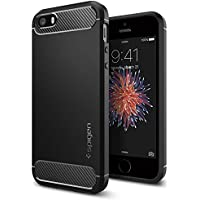 Spigen Funda iPhone Funda iPhone 5S/5 [Rugged Armor] Resilient [Black] Ultimate Protection & Rugged Design with Matte Finish, Funda Apple iPhone 5SE/5S/5/SE (041CS20167)