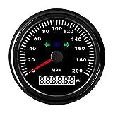 Hete-supply Universal Car Motorrad Tachometer Multifunktions-Kilometerzähler 200MPH Mit Fernlicht und Abbiegelicht
