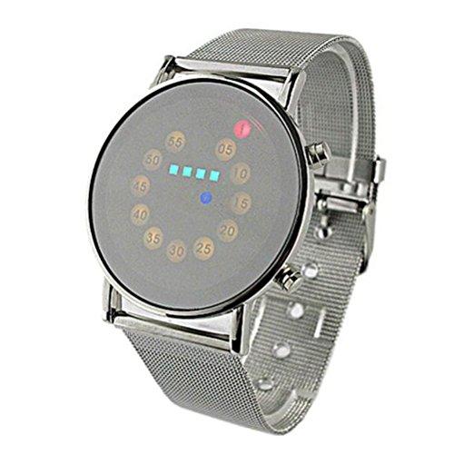 Sunnywill Herren Rot + Gelb + Grün + Blau LED-Licht Edelstahl Mode Armbanduhr für Männlich