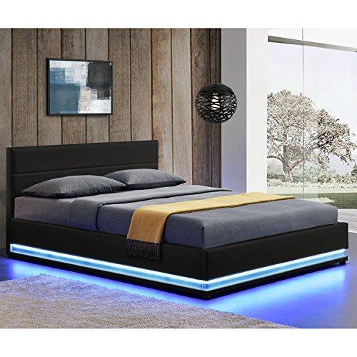 Polsterbett Toulouse 140 x 200 cm mit rundum LED und Bettkasten - schwarz