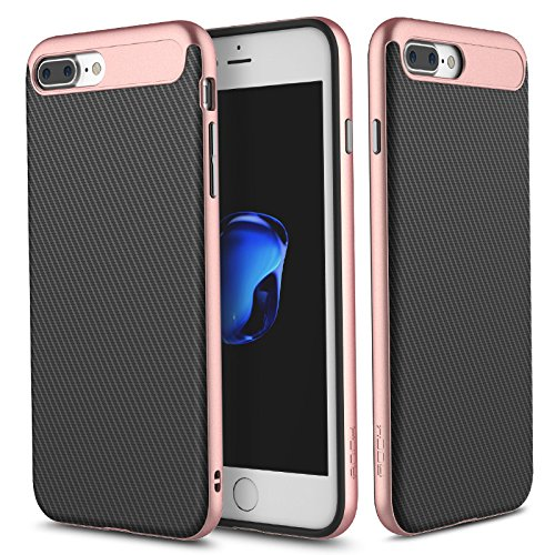 Cover Custodia For iPhone 7 plus.For iPhone 8 plus Case,ROCK [Lens] Anti-scratch Drop Protection Ultra Thin Slim Fit Dual Layered Heavy Duty Armor Hybrid Hard PC+Soft TPU Protective Shell Case for App Rose gold