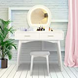 YOUKE Vanity Table Set avec lumière LED et Interface USB Round Mirror 2 Grands Tiroirs Coulissants,...
