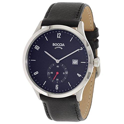 Boccia Herren Digital Quarz Uhr mit Leder Armband 3606-02
