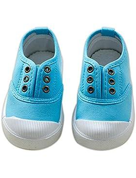 ALUK- Zapatos de niños de lona Zapatos blancos pequeños Zapatos de bebé Zapatos de estudiantes ( Color : Azul...
