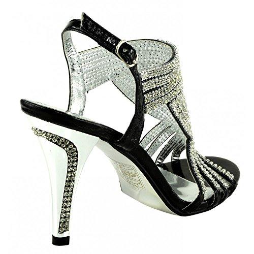 Kick Footwear - Donna diamante sera tacchi partito sandali scarpe da sposa Nero