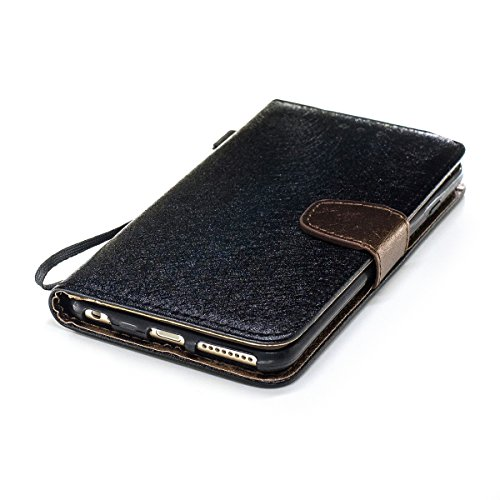 Custodia iPhone 6 Plus - Cover Apple iPhone 6s Plus - ISAKEN Accessories Cover in PU Pelle Bronzing Oro farfalla Leather Custodia Rigida Libro Bookstyle Wallet Flip Portafoglio Copertura Anti Slip Pro Black