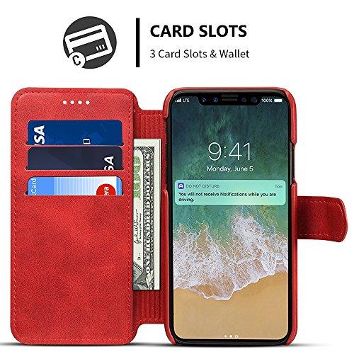 iPhone X Case Hülle Kunst Leder Brieftasche mit Kredit Karten Fach Geldscheinfach Premium Börse Tasche Handy Schutzhülle,Rot Rot
