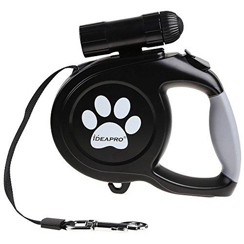 Rollleine, IDEAPRO 5M LED Roll-Leine Einziehbare Hundeleine für Hunde bis Max. 50Kg (Schwarz)