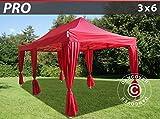 Dancover Faltzelt Faltpavillon Wasserdicht FleXtents PRO 3x6m Rot, inkl. 6 Gardinen