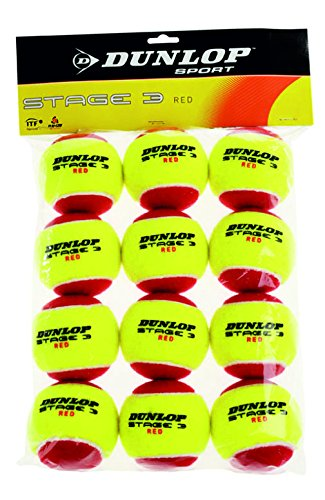 Dunlop Tennisball Mini Tennis Stage 3, Gelb/Rot, One size, 605054 (Play-und Stay-tennis-ball)