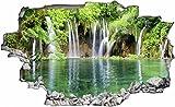 DesFoli Wasserfall Fluss Natur Landschaft Dschungel See 3D Look Wandtattoo 70 x 115 cm Wanddurchbruch Wandbild Sticker Aufkleber C011