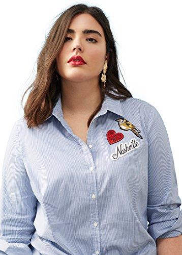 VIOLETA-Plus-Size-Baumwollhemd-mit-Blusen-Langrmlig-patches