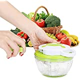 Speedy Chopper, Powerful Handheld Mini Chopper Manual Food Processor Mixer Blender Shredder,Hand-Powered Food Chopper Dicer with 3 Sharp Stainless Steel Blades for Vegetable Fruits Salad Nuts Onions